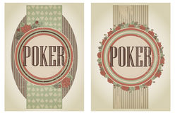 Two vintage casino poker banners Royalty Free Stock Images