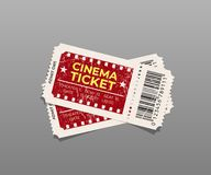 Two vintage cinema tickets isolated on gray. Vector design element. Royalty Free Stock Images
