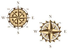 Two vintage compasses Royalty Free Stock Photos