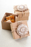 Two vintage decorative boxes with cookies Stock Photos