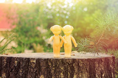 Two vintage dolls outdoors Royalty Free Stock Photo