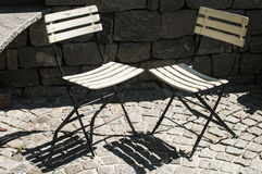 Two vintage folding chairs Stock Photo
