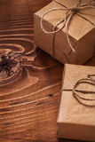 Two vintage gift boxes on wooden boards Royalty Free Stock Image