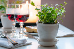 Two vintage glasses of red wine Royalty Free Stock Images
