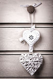 Two vintage hearts Stock Photography