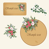 Two vintage labels with flowers Stock Photography