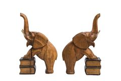 Two old wooden carved elephants holders Royalty Free Stock Photo