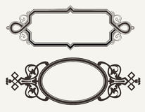 Two Vintage Ornate Engraving Frames Stock Photos