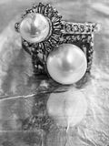 Two vintage pearl rings Royalty Free Stock Photos