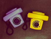 Two vintage phone on a dark background Stock Photo