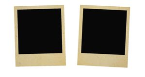 Two vintage photo frames. Isolated on white Royalty Free Stock Photo