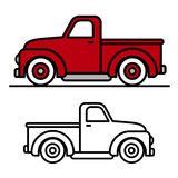 Two vintage pick-up truck outline drawings Stock Image