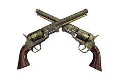 Two vintage pistols on wooden background Royalty Free Stock Images