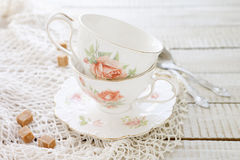 Two vintage porcelain cups Royalty Free Stock Photography