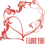 Two vintage silhouette card red hearts Stock Photo