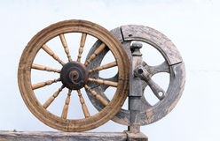 Two Vintage Spinning Wheels Stock Images