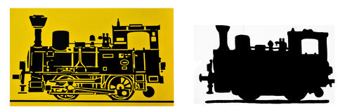 Vintage steam train, silhouettes. Photos of two vintage steam locomotive silhouettes, worked out in PS Stock Image