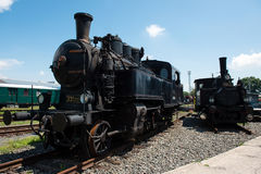 Two vintage steam locomotives Royalty Free Stock Photo