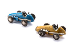 Two vintage style toy racing cars Royalty Free Stock Image