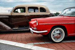 Two vintage stylish car stock photo
