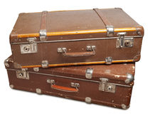 Two vintage suitcases. Clipping path included Stock Photo