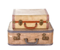Two vintage suitcases isolated Royalty Free Stock Image