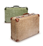Two vintage suitcases isolated Stock Photography