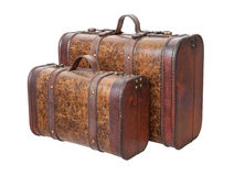 Two Vintage Suitcases Isolated on white. Two Vintage Suitcases Isolated with clipping path on a white background Royalty Free Stock Photography