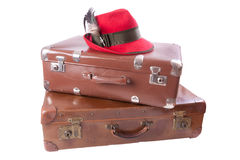 Two vintage suitcases with tradition Bavarian hat. Over white Stock Image