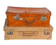 Two vintage suitcases, white background. Clipping path Stock Photo
