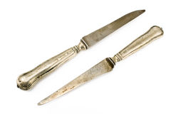 Two vintage table knifes Stock Photos