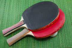 Two vintage table tennis rackets Royalty Free Stock Photos