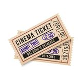 Two vintage tickets to the cinema on a white background. Vector illustration Royalty Free Stock Photos