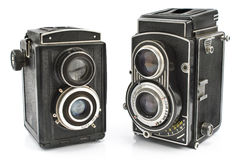Two vintage two lens photo camera Royalty Free Stock Images