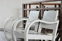 Two Vintage White Chair Stock Photo