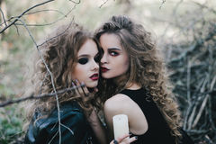 Two vintage witches gathered eve of Halloween Stock Photo