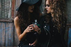 Two vintage witches perform magic ritual Royalty Free Stock Photo