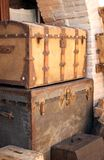 Two vintage wooden chests Stock Image