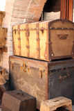 Two vintage wooden chests Royalty Free Stock Photo