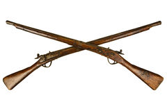Two vintage wooden rifles isolated on white Royalty Free Stock Photography