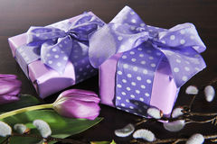 Two violet presents Royalty Free Stock Images