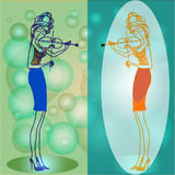 Two violinists. The girl in all growth plays a violin. Decollete, tight skirt and high heel.  illustration Stock Photo