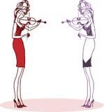 Two violinists. Девушка во весь рост играет на скрипке. Декольте, узкая юбка и высокие каблуки. Векторные иллюстрации Royalty Free Stock Photography
