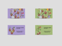 Two visitcards. Theme: gardening, plants and stock illustration