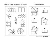Educational math activity page with two puzzles and coloring - fractions, spatial skills. Two visual math puzzles and coloring pages. Color the shapes to Stock Images