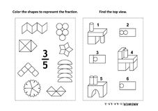 Educational math activity page with two puzzles and coloring - fractions, spatial skills Stock Images