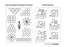 Educational math activity page with two puzzles and coloring - fractions, spatial skills. Two visual math puzzles and coloring pages. Color the shapes to vector illustration