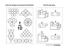 Educational math activity page with two puzzles and coloring - fractions, spatial skills. Two visual math puzzles and coloring pages. Color the shapes to Royalty Free Stock Photography