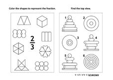 Educational math activity page with two puzzles and coloring - fractions, spatial skills. Two visual math puzzles and coloring pages. Color the shapes to Royalty Free Stock Image