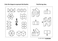 Educational math activity page with two puzzles and coloring - fractions, spatial skills. Two visual math puzzles and coloring pages. Color the shapes to Stock Photography
